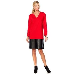 Red Natori Midi Dress w/ Faux Leather Trim, XS